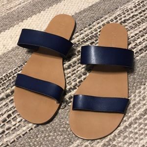 NWOT navy leather sandals